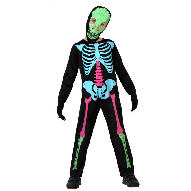 Disfraz de Esqueleto de colores para Niños