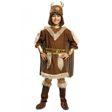 Disfraz de Vikinga para niña con casco