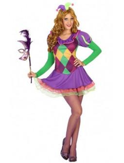 Disfraz de Bufona multicolor para mujer