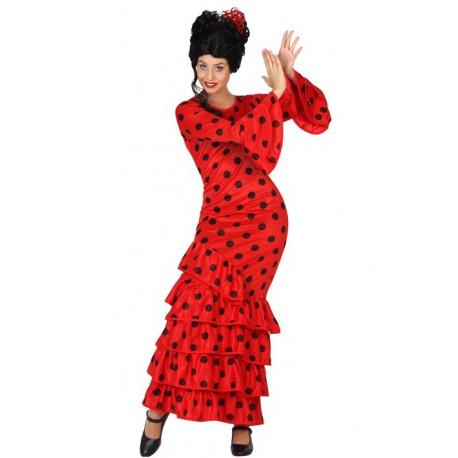 Disfraz de Sevillana Rojo con lunares