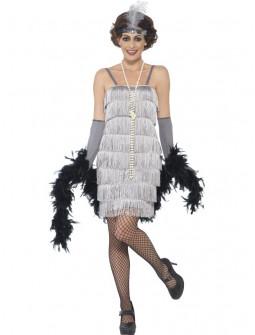 Disfraz de Charleston Corto Gris para Mujer