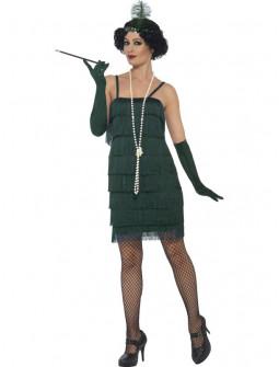 Disfraz de Charleston Corto Verde Oscuro