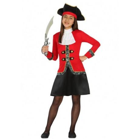 Disfraz de Bucanera en rojo para niña