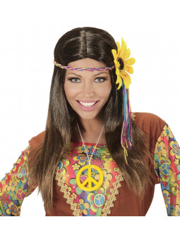 Peluca Hippie con flor