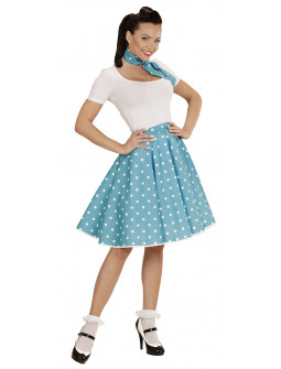 Falda de Lunares con Pañuelo Turquesa