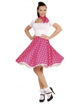 Falda de Lunares con Pañuelo Rosa