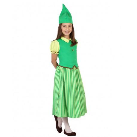 Disfraz de Niña Duende Verde