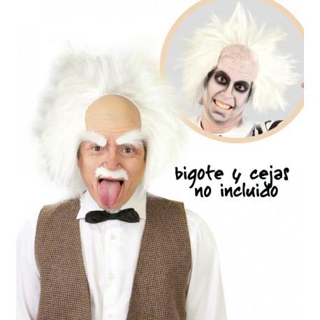 Calva con pelo blanco de Einstein