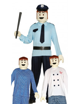 Máscara de Playmobil con guantes