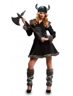 Disfraz de Vikinga Negro para Mujer