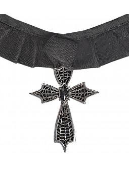 Collar negro con cruz metálica