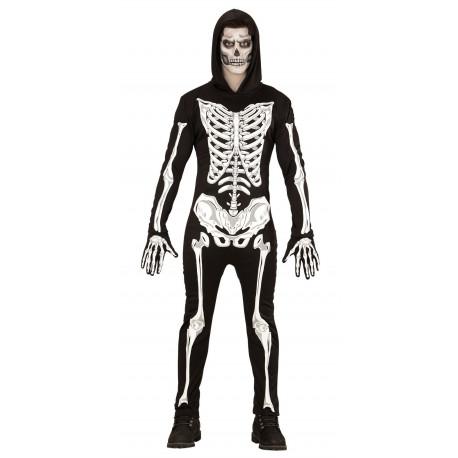 Disfraz de Esqueleto Fluorescente con capucha