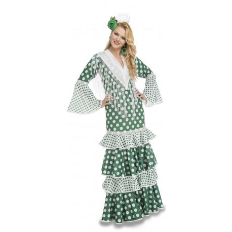 Traje de Sevillana Verde para Mujer