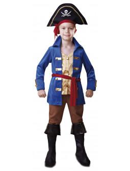 Disfraz de Capitán Pirata en Azul para Niño