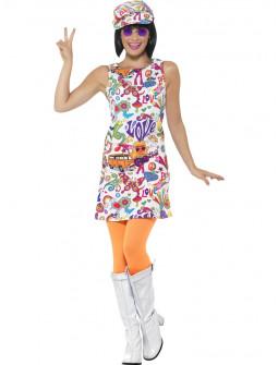 Disfraz de Sesentera Flower Power para Mujer