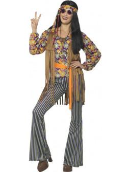 Disfraz de Hippie con Chaleco de Flecos para Mujer