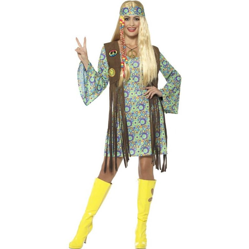 disfraz de hippie con chaleco para mujer comprar online. Black Bedroom Furniture Sets. Home Design Ideas