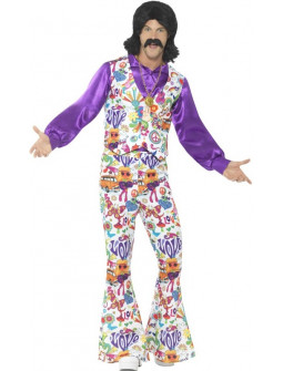 Traje Hippie con Chaleco Flower Power para Hombre