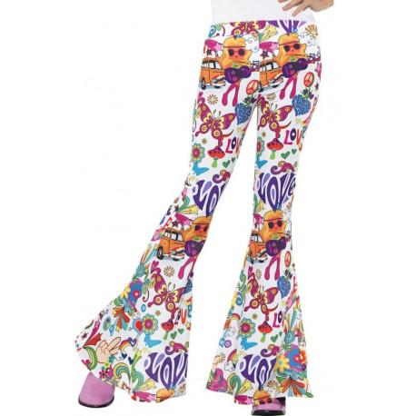 Pantalones de Campana Sesenteros Flower Power para Mujer