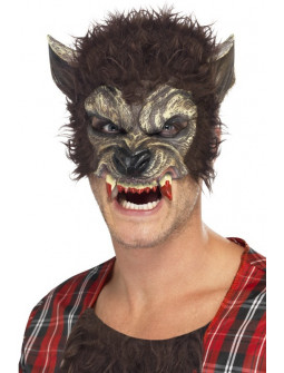 Media Máscara de Hombre Lobo con Colmillos
