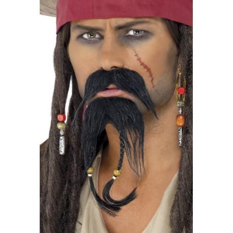 Bigote Negro con Perilla de Jack Sparrow