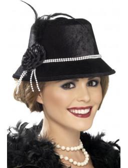 Sombrero Charlestón Negro con Perlas