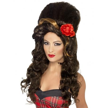 Peluca de Amy Winehouse con Flor