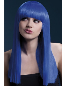 Peluca Azul con Flequillo Premium
