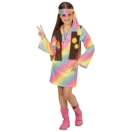 Disfraz de Hippie multicolor para niña