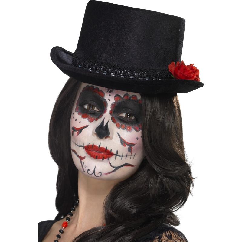Sombrero Negro de Copa con Flor de Catrina  2b6cecb2a28d