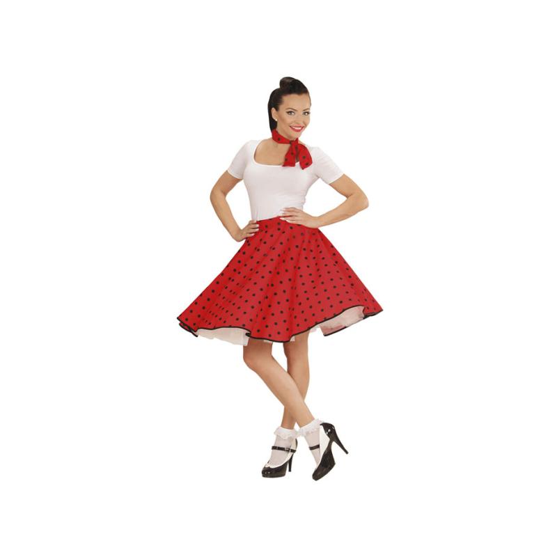 5eccef807c Falda Roja de lunares con Pañuelo