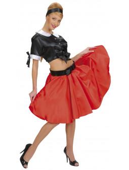 Falda de Raso Rojo con Enagua