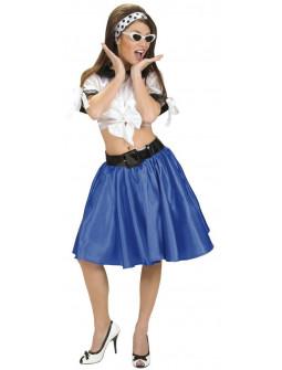 Falda de Raso Azul con Enagua