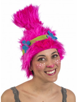 Peluca Rosa de Troll Poppy para Mujer