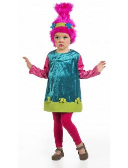 Disfraz de Troll Poppy para Niña