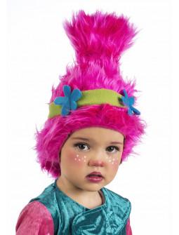 Peluca Rosa de Troll Poppy para Niña
