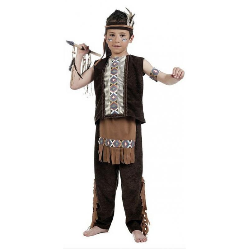 bac60ec92a652 Disfraz de Indio Marrón para Niño