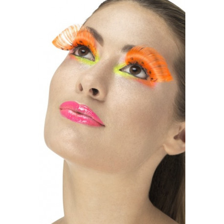 Pestañas Naranja Fosforito Con Lunares Negros