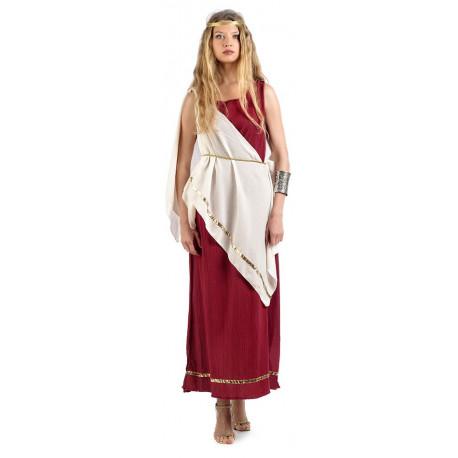 Disfraz de Romana Granate y Blanco para Mujer