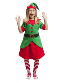 Disfraz de Elfa de Papá Noel para Niña