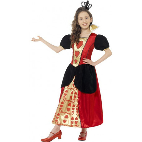Disfraz de Reina de Corazones largo para niña