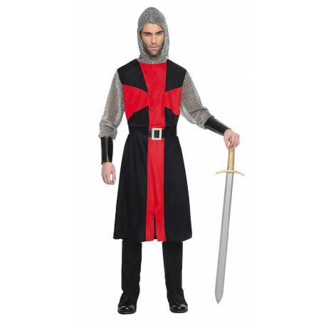 Disfraz de Cruzado Medieval Negro y Rojo para Hombre