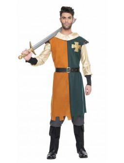 Disfraz de Caballero Medieval Verde y Mostaza para Hombre