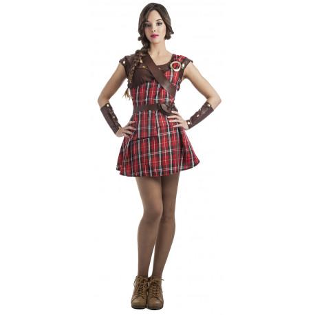 Disfraz de Guerrera Escocesa Rojo para Mujer