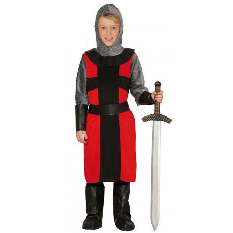 Disfraz de Caballero Medieval Rojo y Negro para Niño