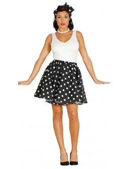 Falda de Lunares Negra con pañuelo