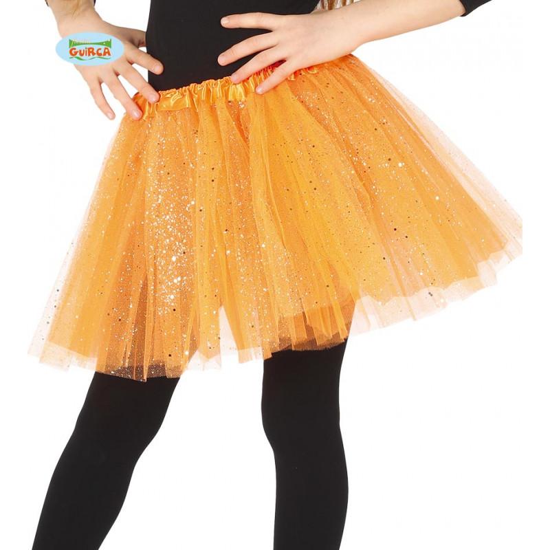 70d8943ac1 Tutú Naranja para Niña con Brillo