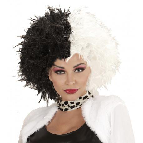 Peluca Bicolor Blanca y Negra