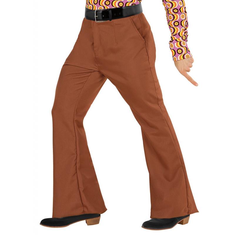 profesional mejor calificado famosa marca de diseñador nuevo estilo de Pantalón de Campana Marrón Años 70 para Hombre  Comprar