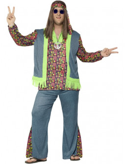 Disfraz de Hippie Azul en Talla Grande para Hombre